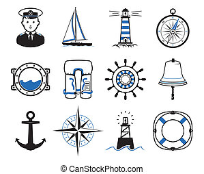 Sea Sailing icons set