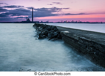 Wave breaker pier in Dubin port