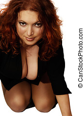 redhaired sexy girl - Redhaired sexy girl isolated over...
