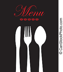 Cutlery - white cutlery over black background vector...
