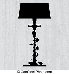 silhouette of luxury lamp on a scratched grey wallpaper