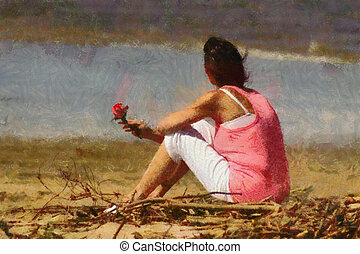Pink Lady with Rose on Beach Painting - Pink Woman with Rose...