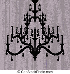 silhouette of luxury chandelier on a scratched purple wallpaper/ template design of invitation with chandelier
