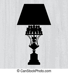 silhouette of luxury lamp on a scratched grey wallpaper/ template design of invitation with lamp