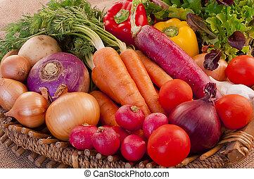 cesta, fresco, legumes, cheio