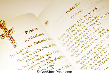 Bible With Cross - Bible opened to Psalm 23 - The Lord Is My...