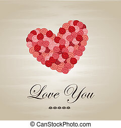 love you - Love you card over brown background vector...