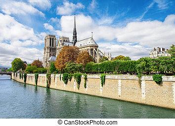 Notre Dame de Paris, France landmark. Seine river view.