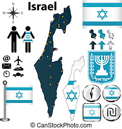 Israel map - Vector of Israel set with detailed country...