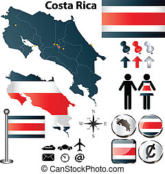 Costa Rica map - Vector of Costa Rica set with detailed...