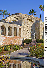 Mission San Juan Capistrano Statue and Bells - Mission San...