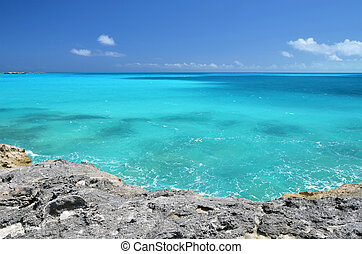A desert beach of Little Exuma, Bahamas