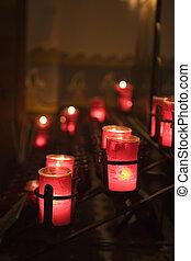 misja, San, Huan, CAPISTRANO, świece, w, przedimek...