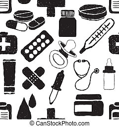 doodle pharmacy seamless pattern