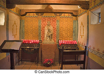 MISSION SAN JUAN CAPISTRANO SMALL CHAPEL WITH CANDLES