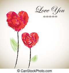 Love you - Card love with two flowers and hearts over brown...