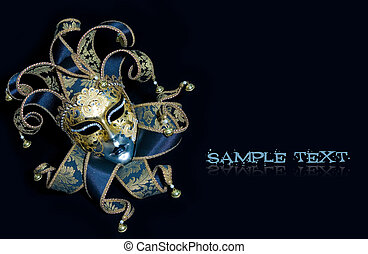 Venetian mask - Ornate venetian mask lying on black...