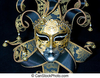 Venetian mask - Great venetian mask lying on black...