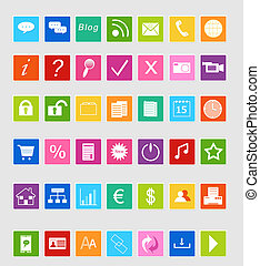 Set of icons for website - Icons Set for Web in colors