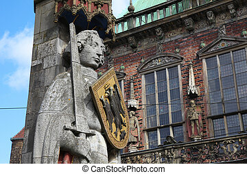 Bremen Roland - Roland statue in front of the town hall of...