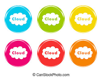 Icons for the Web with cloud symbol in colors blue, green,...