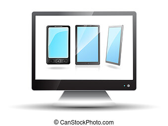 Flat screen tv with mobile phones on a white background