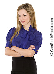 business woman - pretty business woman wearing dark outfit...