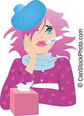 Pretty sick - Cute sick girl with pink hair and ice pack on...