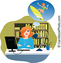 I need a vacation - Cute young woman sitting at her desk in...
