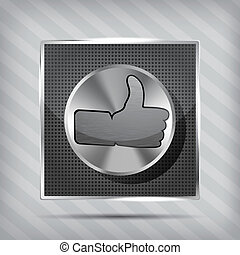 metallic knob with like icon on the striped background