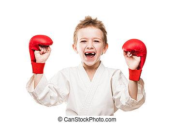sonriente, karate, campeón, niño, niño,...