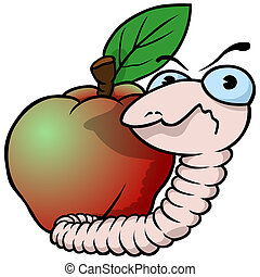 Worm and Apple - Cartoon Illustration, Vector