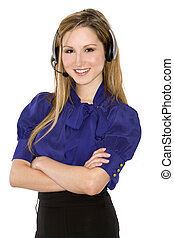 business woman - pretty business woman wearing headset on...