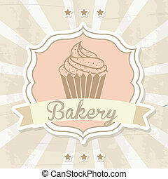 bakery label over beige background vector illustration