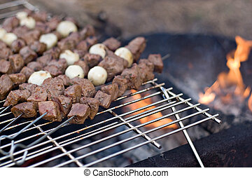 Shish Kebabs - Beef shish kebab skewers cooking over a hot...