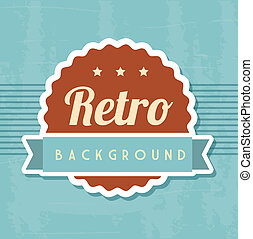 retro background - retro illustration with ribbon over blue...