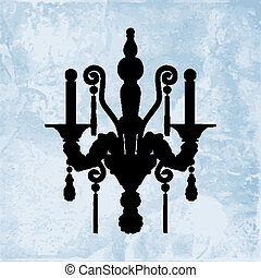 Silhouette of luxury sconce on a blue ceramic background