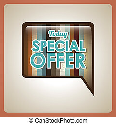 special offer label over brown background. vector...