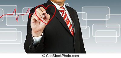 Businessman draw a pulse line with heart