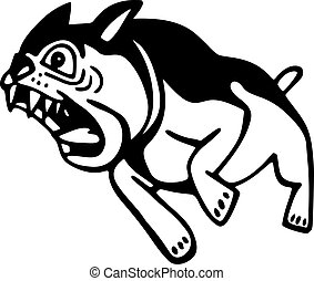Angry Dog - Simple black and white line drawing of a barking...