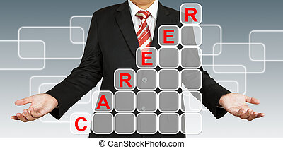 Businessman with career chart