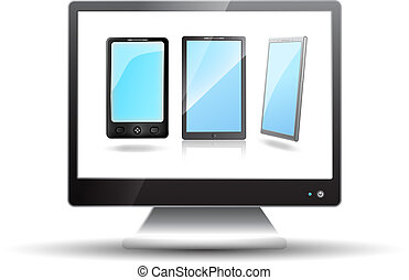 Flat screen tv with mobile phones