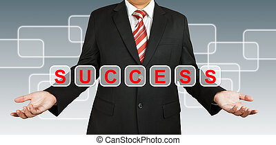 Businessman with text Success