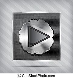 metallic knob with play icon