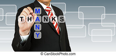 Businessman hand drawing Many Thanks