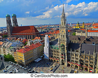 An Aerial View of Munich - An aerial view of Munich,...