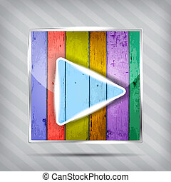 colorful wooden play icon on the striped background
