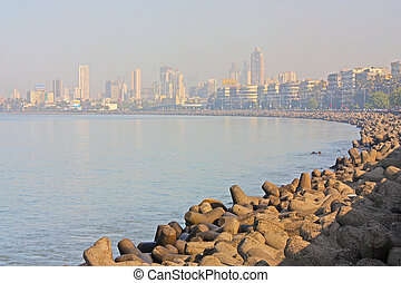 Skyline of Mumbai, India.