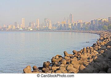 Skyline of Mumbai, India.