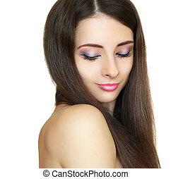 Beautiful makeup woman with long hair isolated on white background